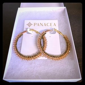 NEW Goldtone Beaded Hoop Earrings
